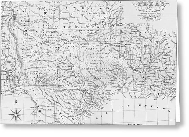 Arkansas State Map Greeting Cards - Antique Texas Map Greeting Card by Dan Sproul