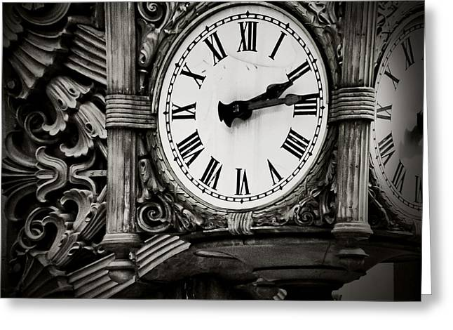 Large Clock Greeting Cards - Antique Time Greeting Card by April Lee