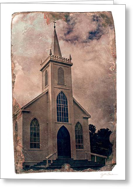 Julie Magers Soulen Greeting Cards - Antique Tintype Style Church in Bodega California Greeting Card by Julie Magers Soulen