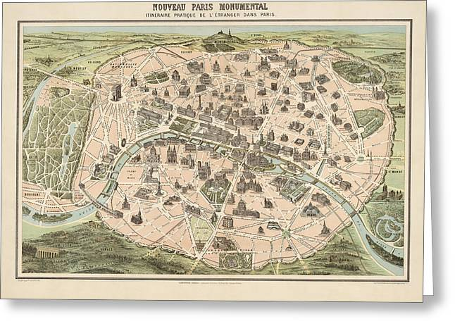 France Map Greeting Cards - Antique Tourist Map of Paris France by Garnier - circa 1860 Greeting Card by Blue Monocle