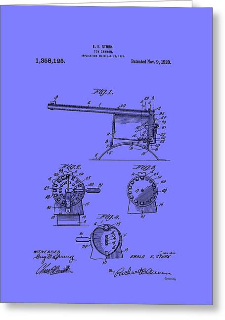 Child Toy Drawings Greeting Cards - Antique Toy Cannon Patent 1920 Greeting Card by Mountain Dreams