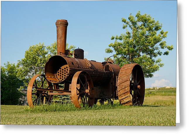 Farmers Field Greeting Cards - Antique Tractor - A Rusty Relic on a Farm Greeting Card by Georgia Mizuleva