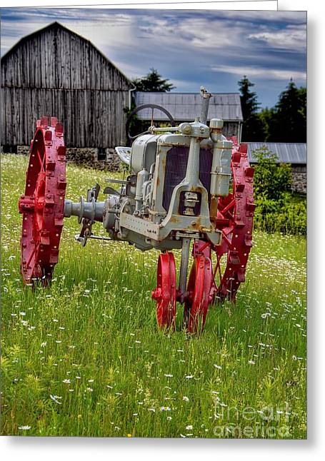 Youthful Greeting Cards - Antique Tractor And Barn Greeting Card by Henry Kowalski