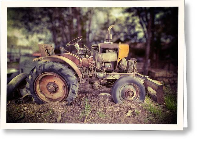 Antique Equipment Greeting Cards - Antique Tractor Home Built Greeting Card by Yo Pedro