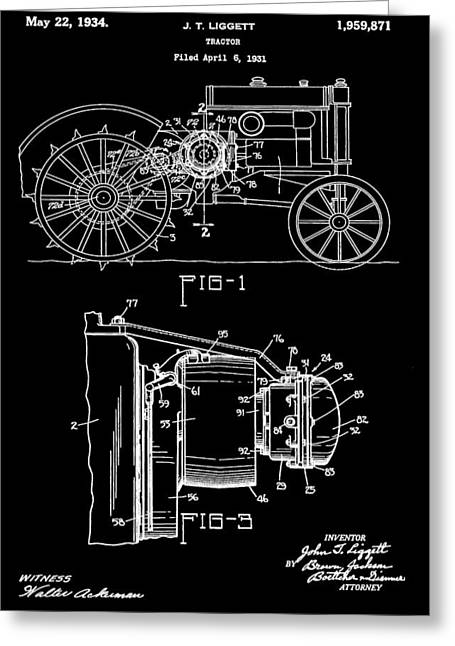 Barn Digital Greeting Cards - Antique Tractor Patent Greeting Card by Dan Sproul