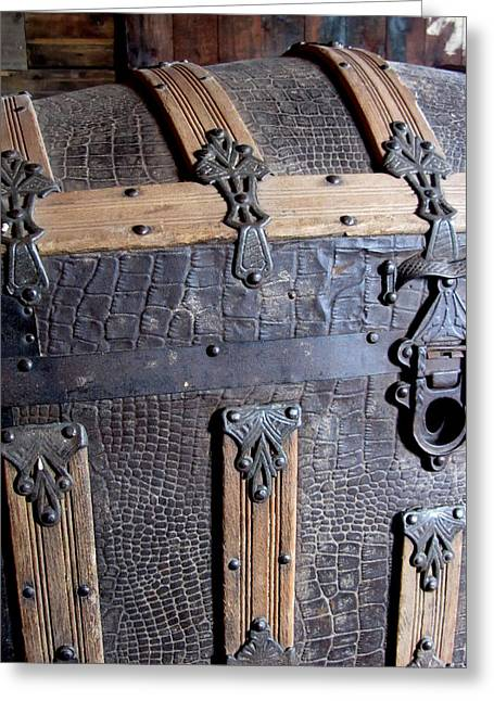 Straps Greeting Cards - Antique Trunks 3 Greeting Card by Anita Burgermeister