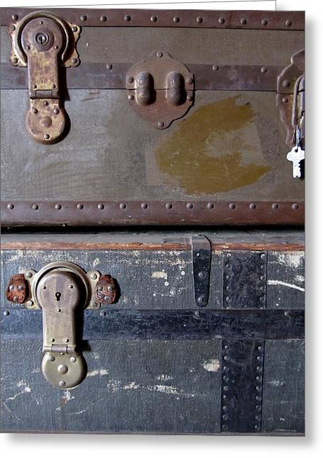 Best Sellers -  - Straps Greeting Cards - Antique Trunks 5 Greeting Card by Anita Burgermeister