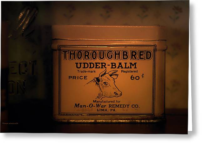 Moos Greeting Cards. Greeting Cards - Antique Udder Balm Can Greeting Card by Thomas Woolworth