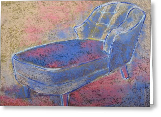 Chaise Paintings Greeting Cards - Antique Upholstered Chaise in Purple Pink and Gold  Greeting Card by Pamela Fox