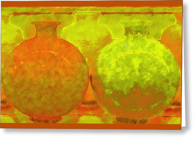 Recently Sold -  - Tangerine Greeting Cards - Antique Vases Greeting Card by Ben and Raisa Gertsberg