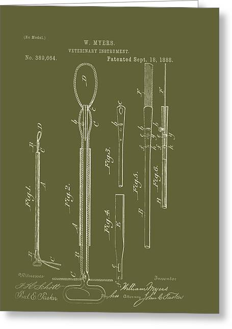 1880s Drawings Greeting Cards - Antique Veterinary Instrument Patent 1888 Greeting Card by Mountain Dreams