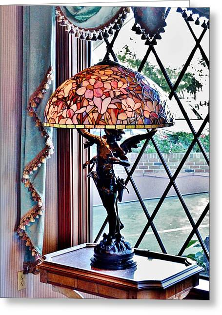 Stained Glass Greeting Cards - Antique Victorian Lamp at the Boardwalk Plaza - Rehoboth Beach Delaware Greeting Card by Kim Bemis