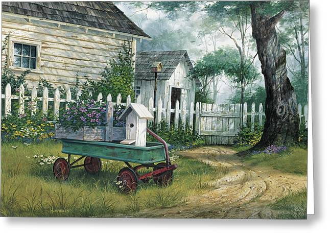 Antique Wagon Greeting Card by Michael Humphries