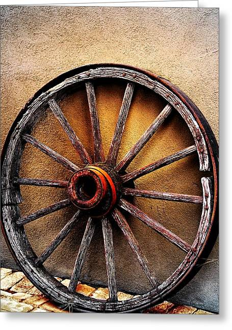Wagon Wheel Greeting Card by Barbara Chichester