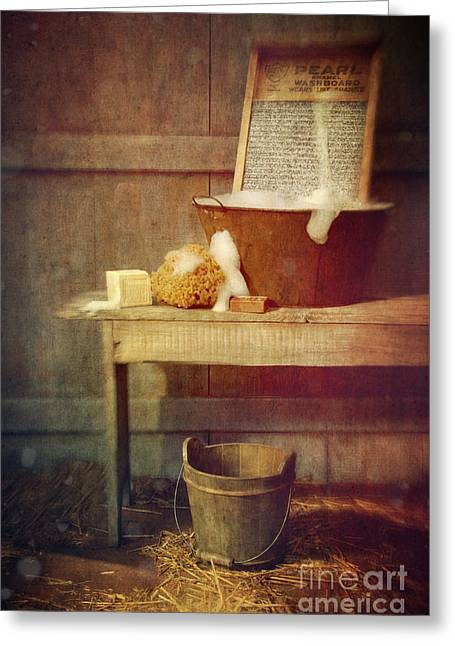 Old Washboards Photographs Greeting Cards - Antique wash tub with soaps Greeting Card by Sandra Cunningham