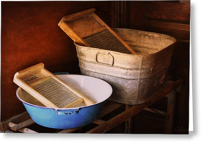 Stainless Steel Digital Art Greeting Cards - Antique Wash Tubs Greeting Card by Maria Angelica Maira