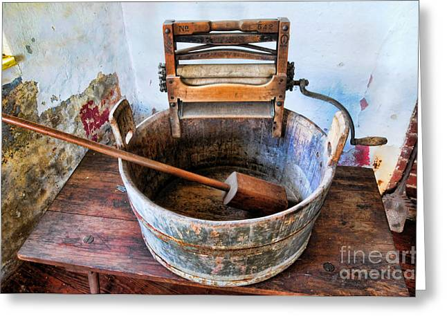 Washtubs Greeting Cards - Antique Washing Machine Greeting Card by Paul Ward