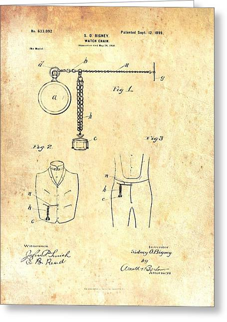 Watch Fob Greeting Cards - Antique Watch Chain Patent Greeting Card by Mountain Dreams