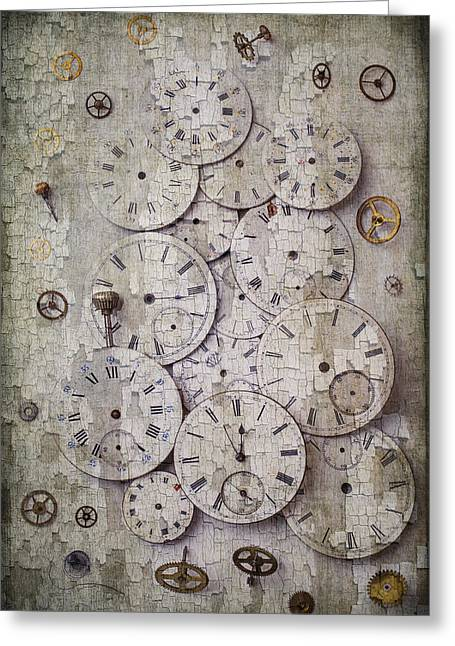 Repaired Greeting Cards - Antique Watch Faces Greeting Card by Garry Gay