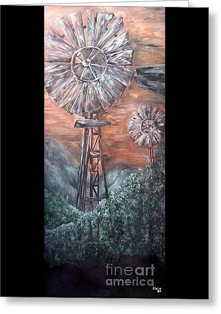 Antique Windmills At Dusk Greeting Card by Eloise Schneider