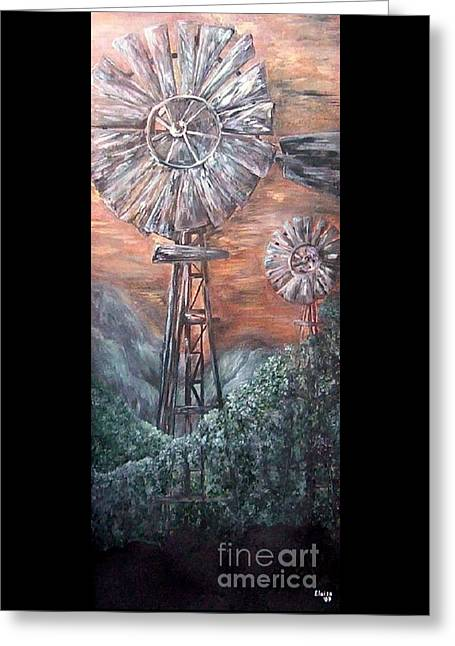Turning Leaves Mixed Media Greeting Cards - Antique Windmills at Dusk Greeting Card by Eloise Schneider