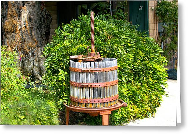 California Wine Tasting Greeting Cards - Antique Wine Press 1 Greeting Card by Barbara Snyder