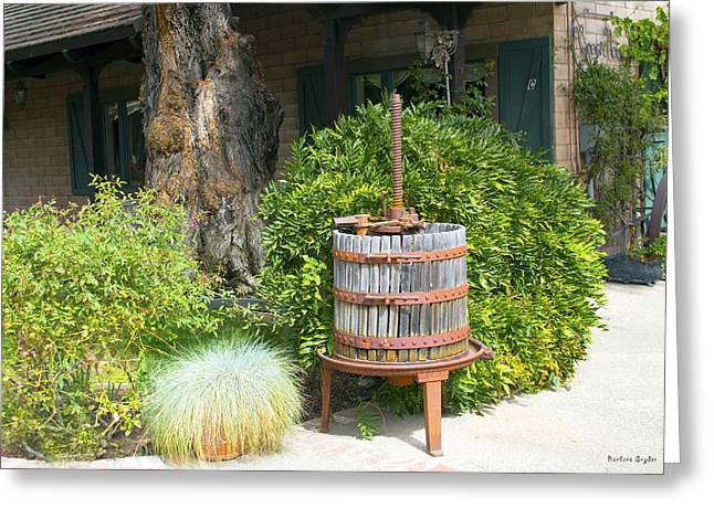 California Wine Tasting Greeting Cards - Antique Wine Press 2 Greeting Card by Barbara Snyder