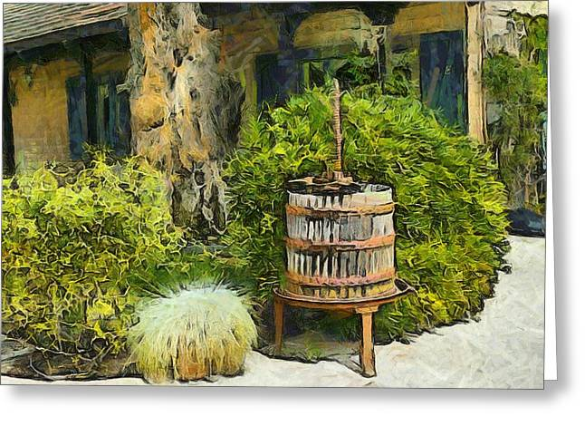 California Wine Tasting Greeting Cards - Antique Wine Press 3 Greeting Card by Barbara Snyder