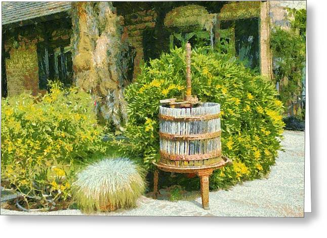 California Wine Tasting Greeting Cards - Antique Wine Press 4 Greeting Card by barbara Snyder