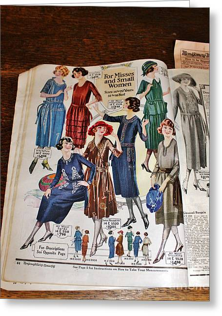 Apparel Greeting Cards - Antique Womens Clothing Catalog Greeting Card by Janice Rae Pariza