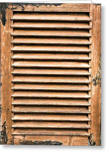 Weathered Shutters Greeting Cards - Antique wooden shutter Greeting Card by Tom Gowanlock