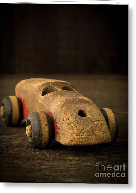 Toy Greeting Cards - Antique Wooden Toy Car Greeting Card by Edward Fielding