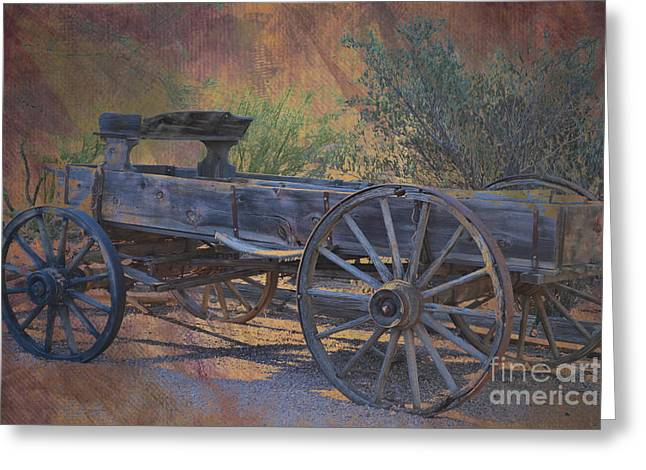 Wooden Wagons Greeting Cards - Antique Wooden Wagon Greeting Card by Beverly Guilliams
