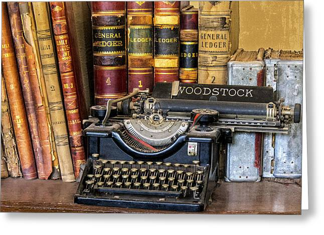 Ledger; Book Photographs Greeting Cards - Antique Woodstock Typewriter Greeting Card by Richard  Rubenstein