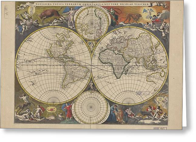 1690 Greeting Cards - Antique World Map 1690 Greeting Card by Celestial Images