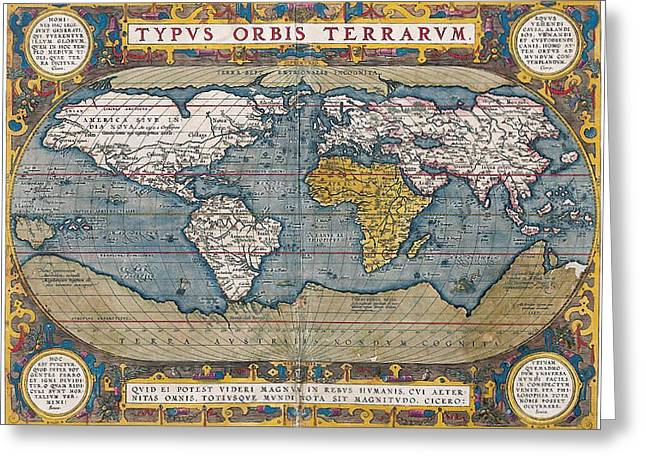 Antique World Map Circa 1570 Greeting Card by L Brown