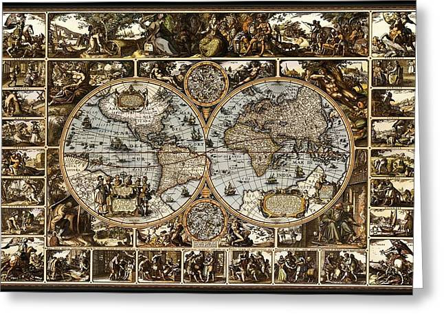 Europe Mixed Media Greeting Cards - Antique World Map Circa 1670 II Greeting Card by L Brown