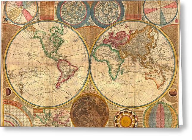 Recently Sold -  - Old Street Greeting Cards - Antique World Map in Hemispheres 1794 Greeting Card by Mountain Dreams