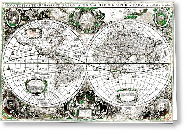 Cartography Mixed Media Greeting Cards - Antique World Map Poster Greeting Card by Dan Sproul