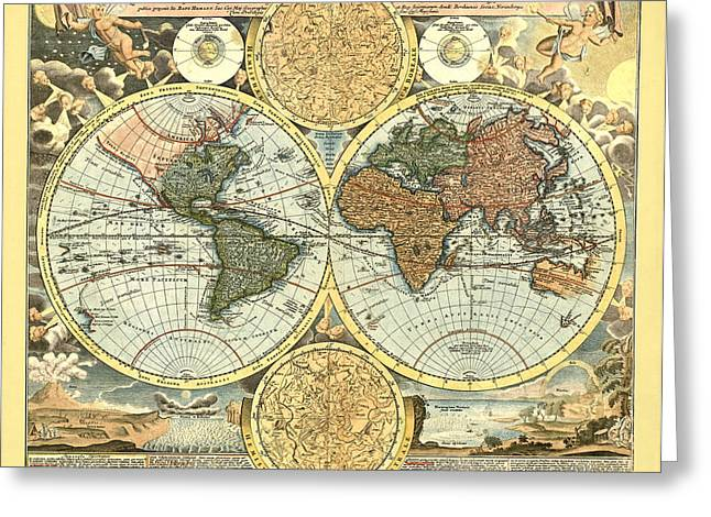 Antique Digital Greeting Cards - Antique World Mercator Map Greeting Card by Gary Grayson