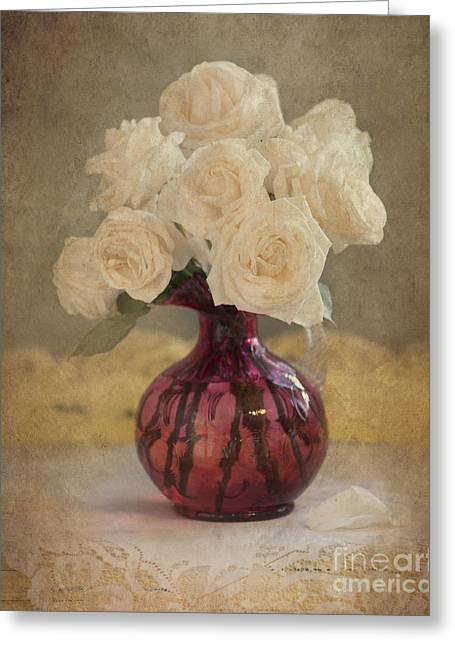 Bouquet Of Roses Greeting Cards - Antiqued Roses Greeting Card by Betty LaRue