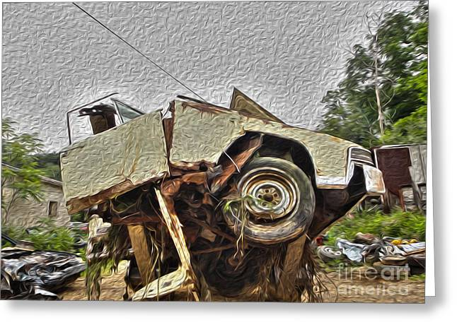 Rusted Cars Greeting Cards - Antiques Broken Greeting Card by Crystal Harman