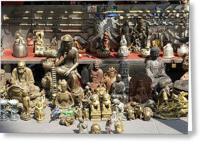 Antiques For Sale On Street Greeting Card by Panoramic Images