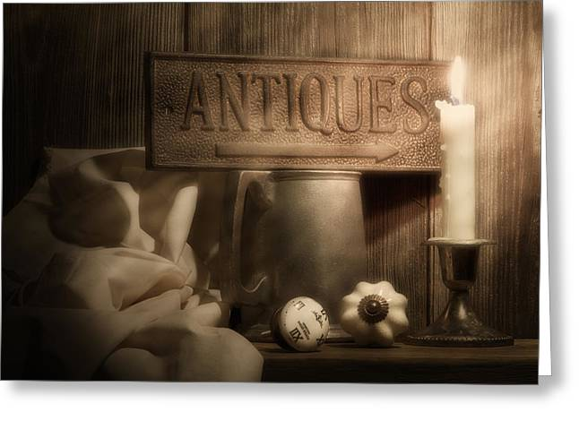 Flagon Greeting Cards - Antiques Still Life Greeting Card by Tom Mc Nemar