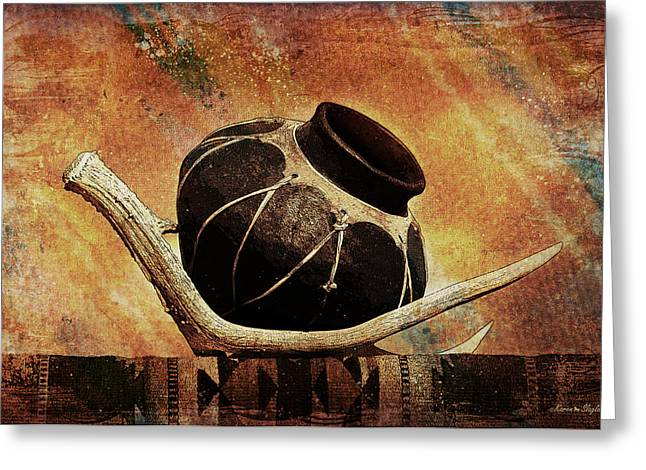 Native American Olla Greeting Cards - Antler and Olla Greeting Card by Karen Slagle