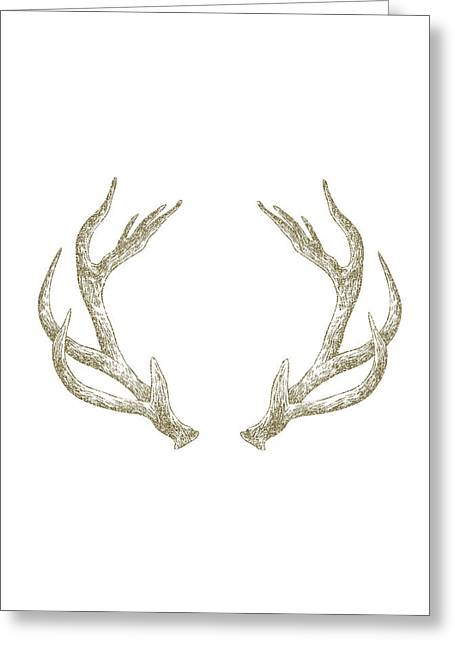 Cabin Greeting Cards - Antlers Greeting Card by Randoms Print