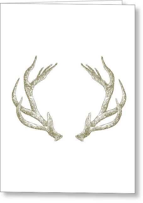 Deer Greeting Cards - Antlers Greeting Card by Randoms Print