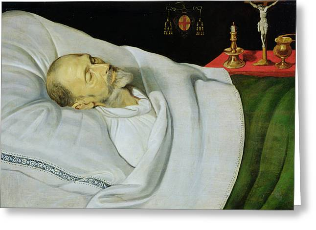 Crucifix Greeting Cards - Antoine De Henin, Bishop Of Ypres, On His Death Bed Panel Greeting Card by Jean the Younger Bellegambe