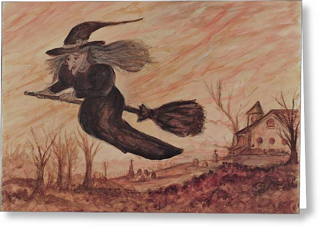 Witch Halloween Cat Wicca Greeting Cards - Antoinette Greeting Card by Amber Lorraine