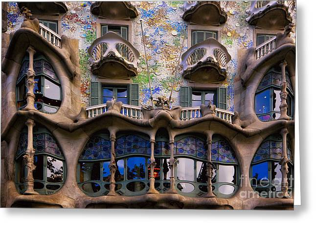 Building Exterior Photographs Greeting Cards - Antoni Gaudi Casa Batllo Facade Greeting Card by George Oze